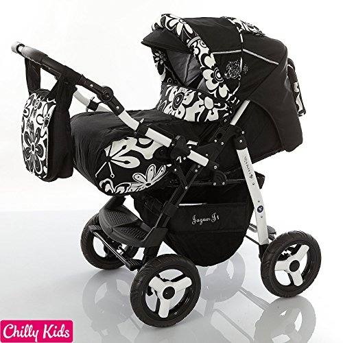 Chilly Kids Jaguar 2 In 1 Pram Combi Stroller Pushchair Rain Cover Mosquito Net 07 Colors 05 Black Shadow Flowers